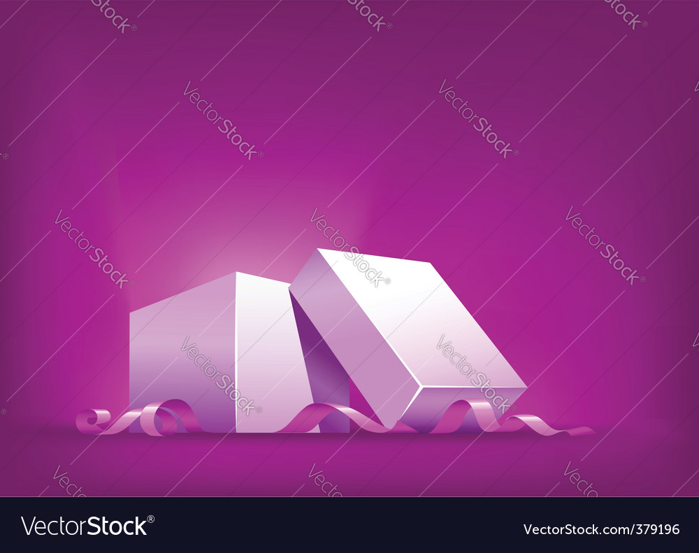 Open box with pink ribbon vector