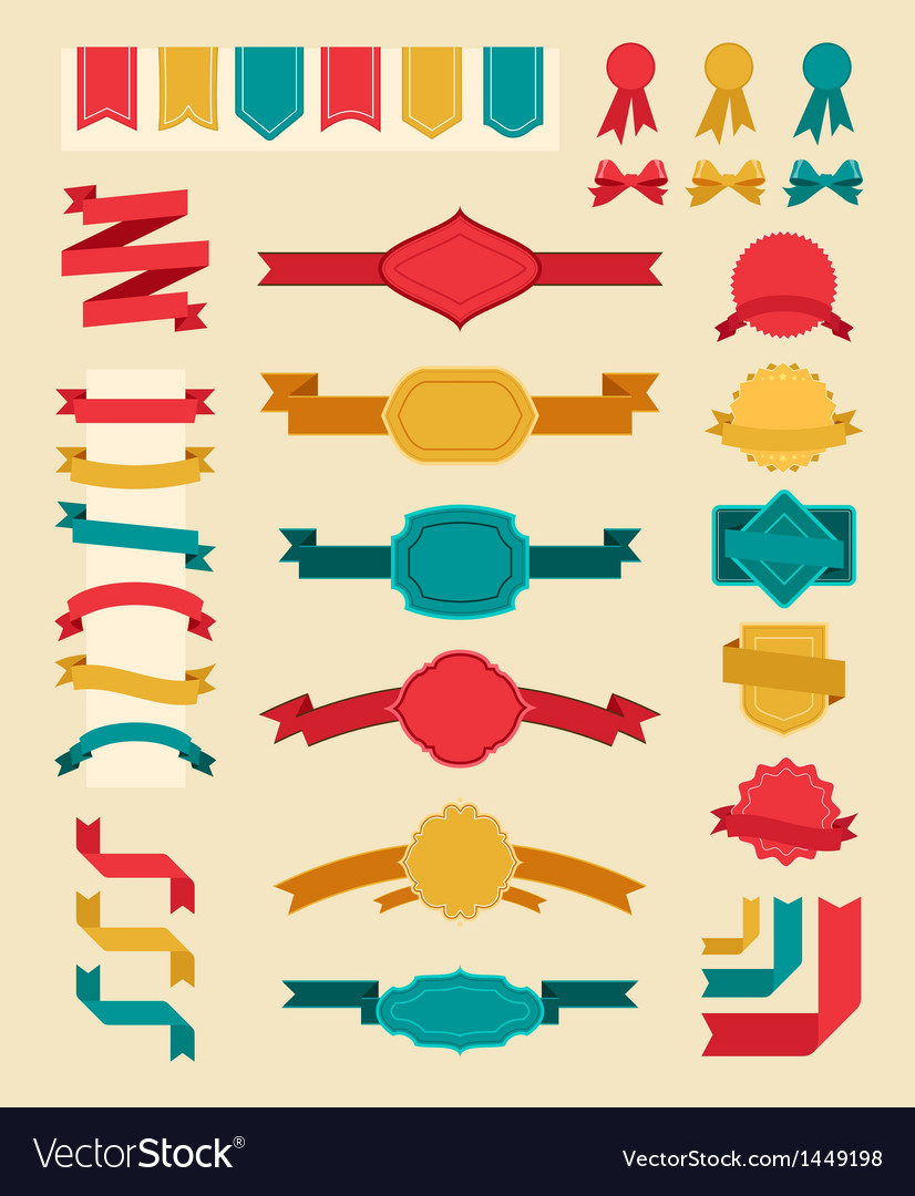 Big retro ribbons and labels set vector