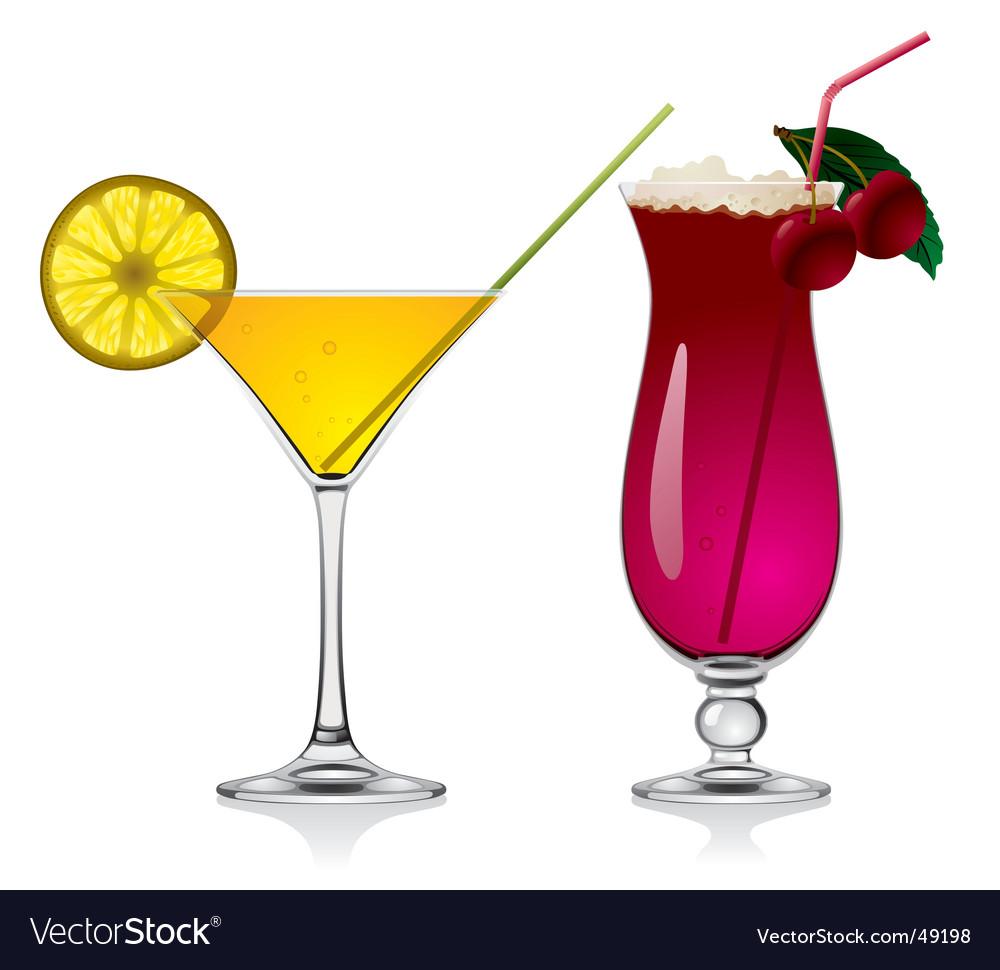 Lemon and cherry cocktails vector