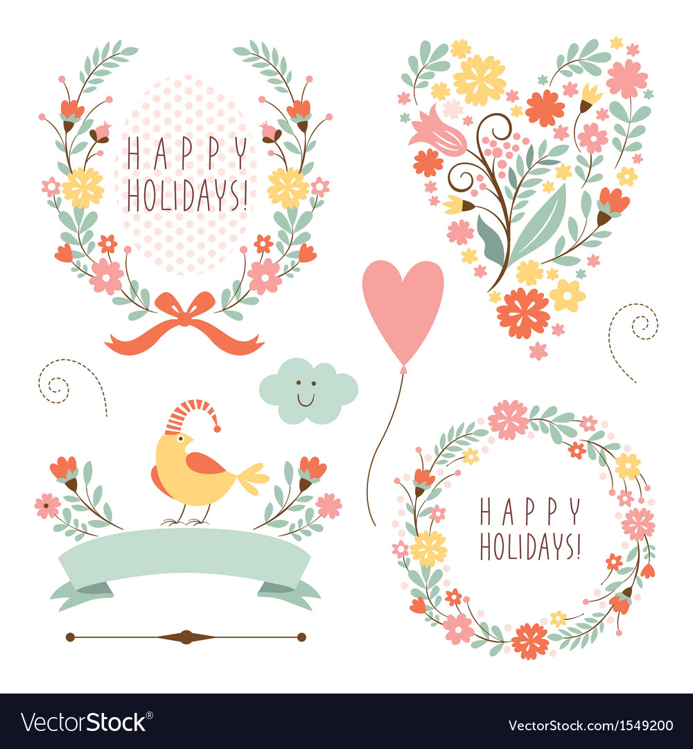 Set of floral graphic elements vector