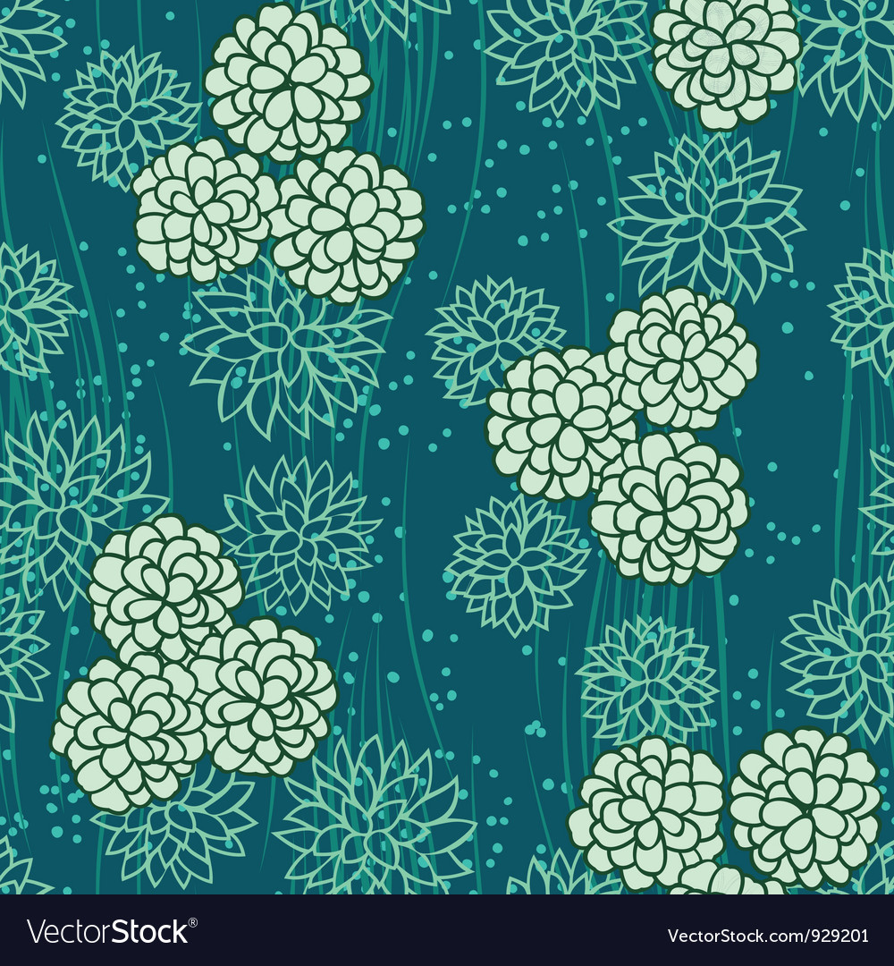 Abstract flowers floral green seamless background vector
