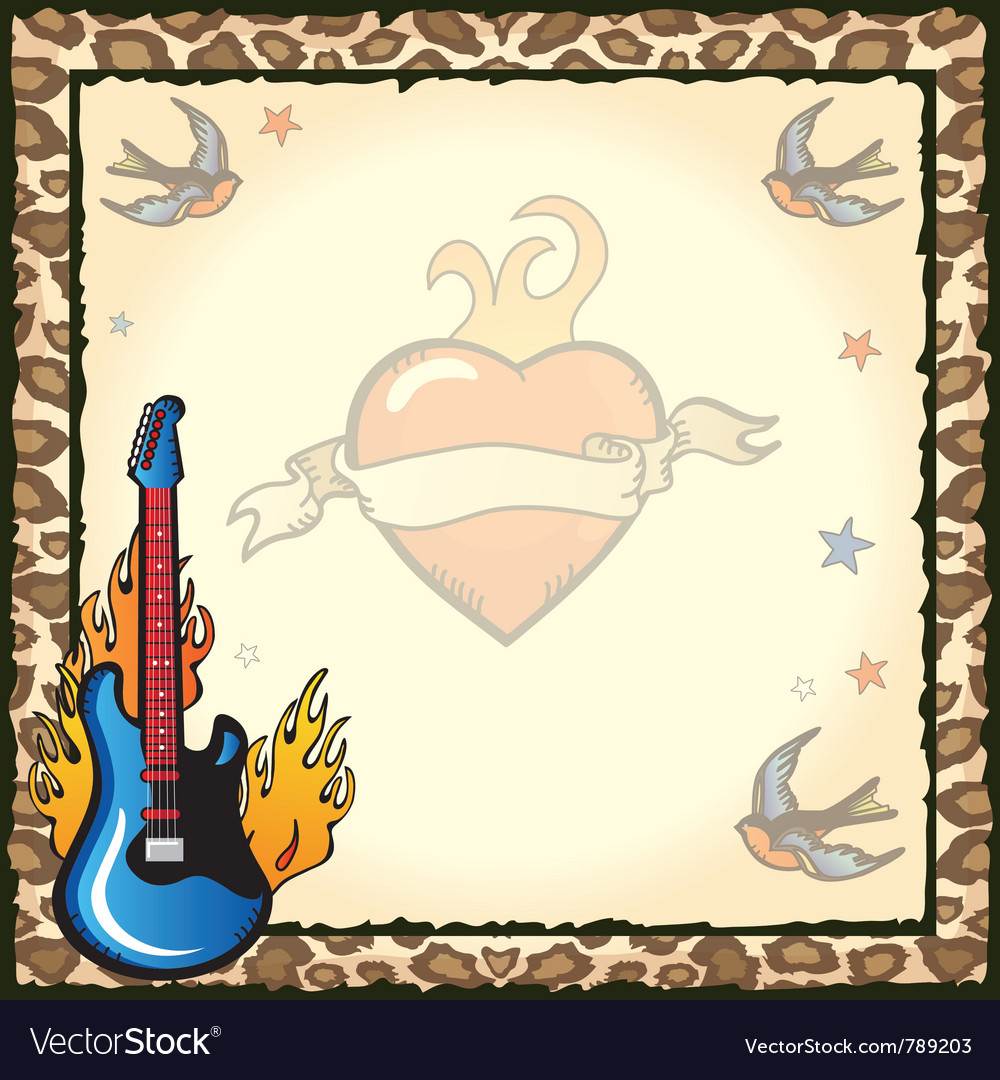 Rock star tattoo party vector