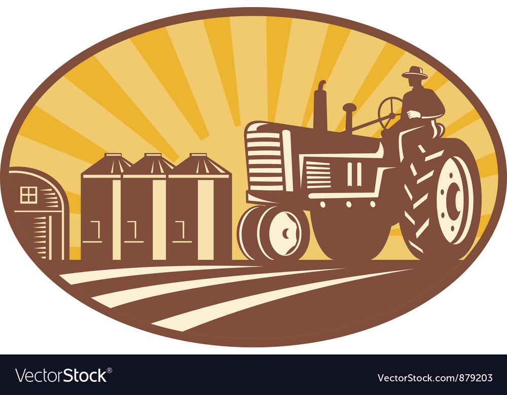 Vintage tractor retro vector