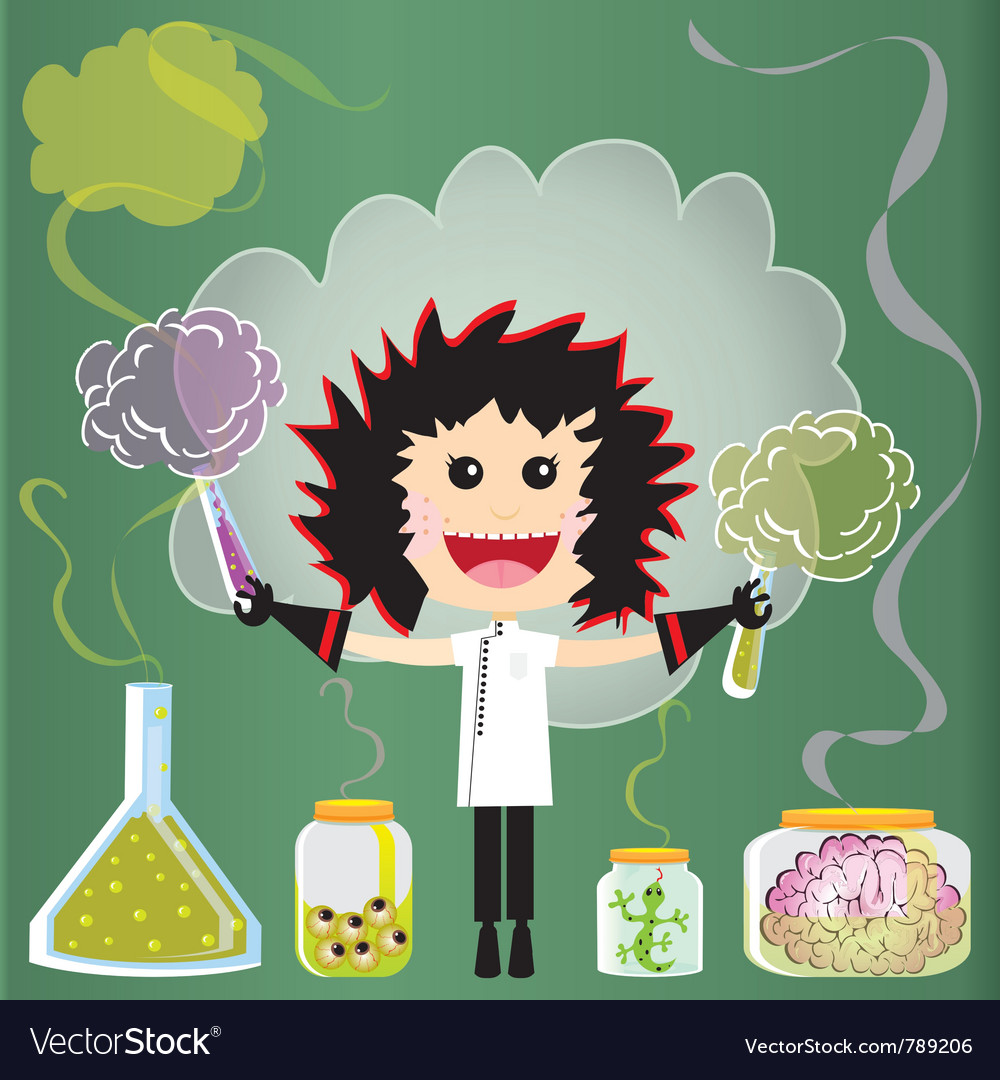 Mad scientist birthday party vector