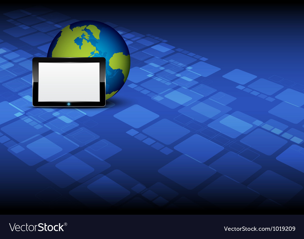 Tablet computer and globe vector