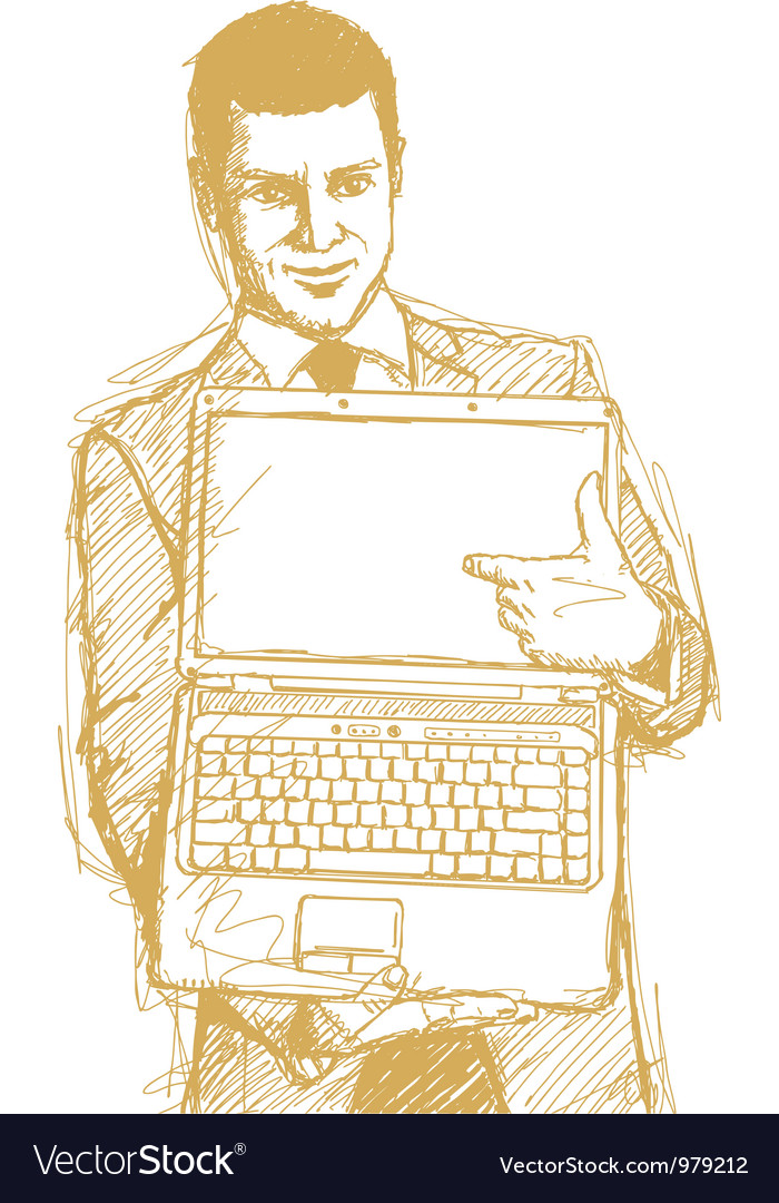 Businessman laptop finger vector