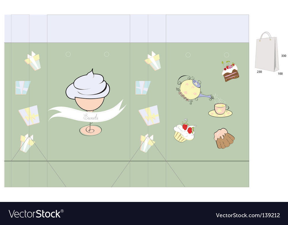 Template for bag with sweets vector