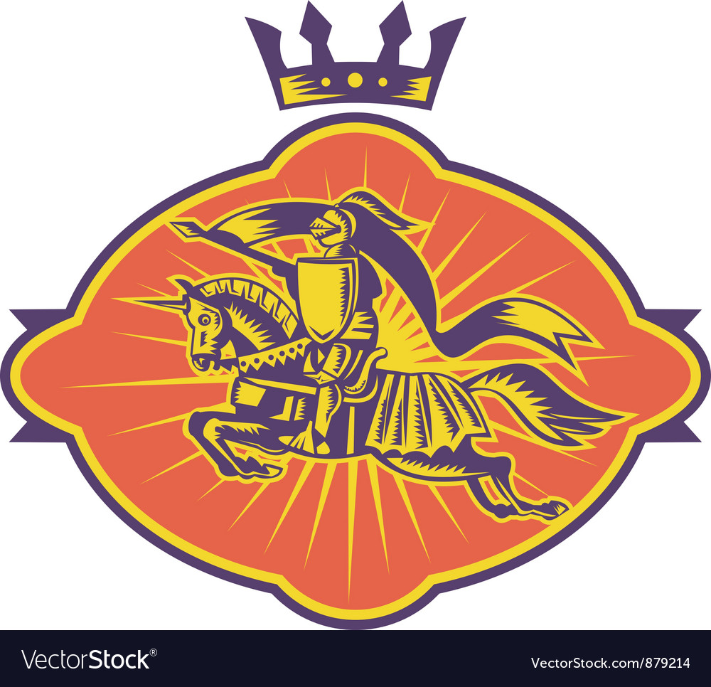 Knight riding horse lance retro vector