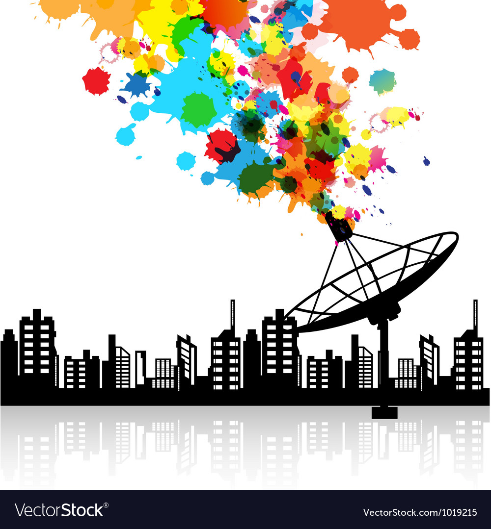 Abstract satellite dish signal vector