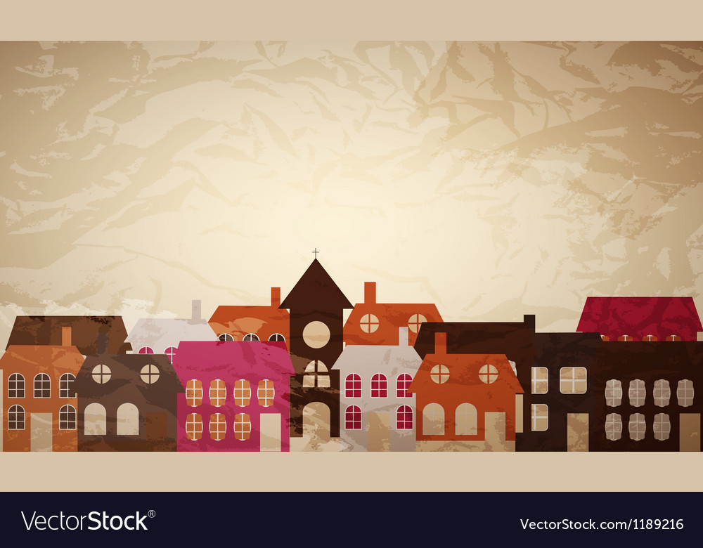 Card with a beautiful little town vector