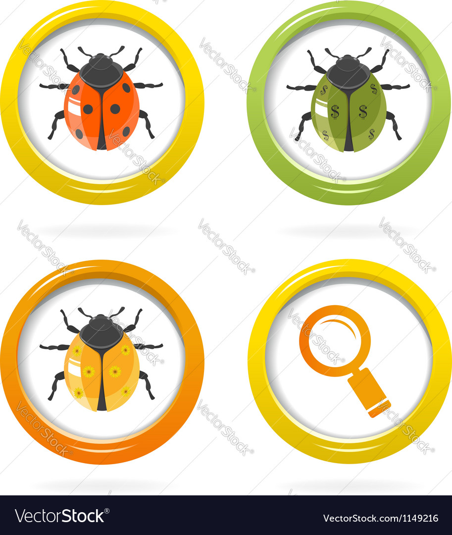 Ladybird glossy icon in colorful bubbles vector