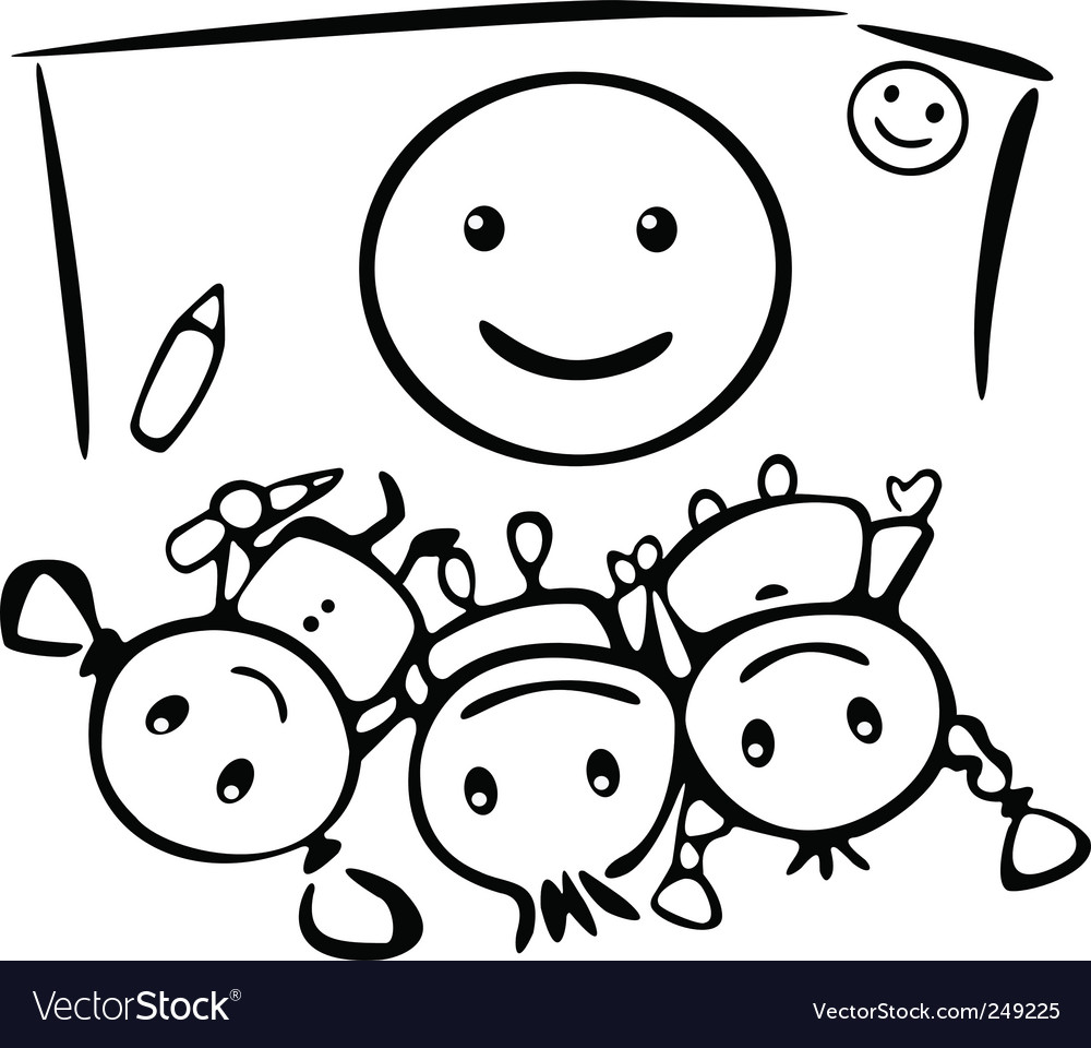 Kids draw smile vector