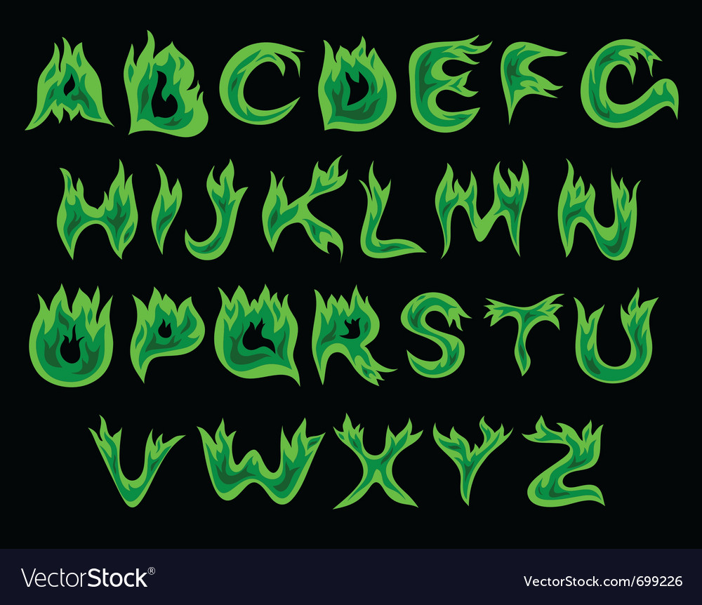 Acid flame alphabet vector