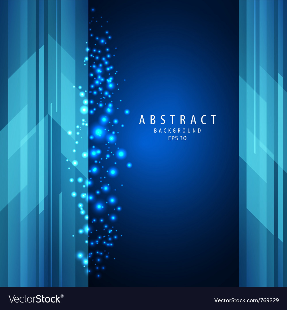 Abstract blue square with sparkling light vector