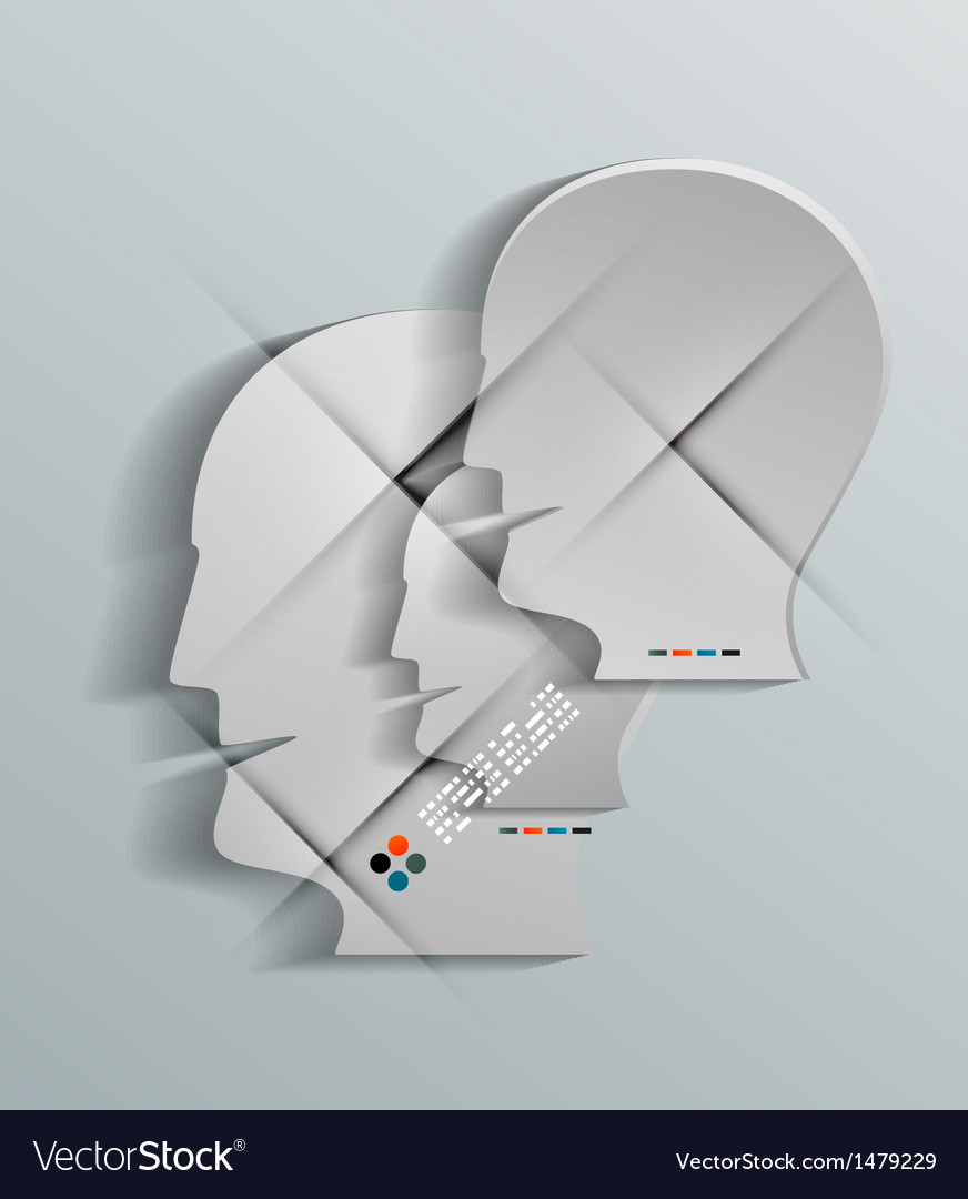 Human head 3d paper design vector