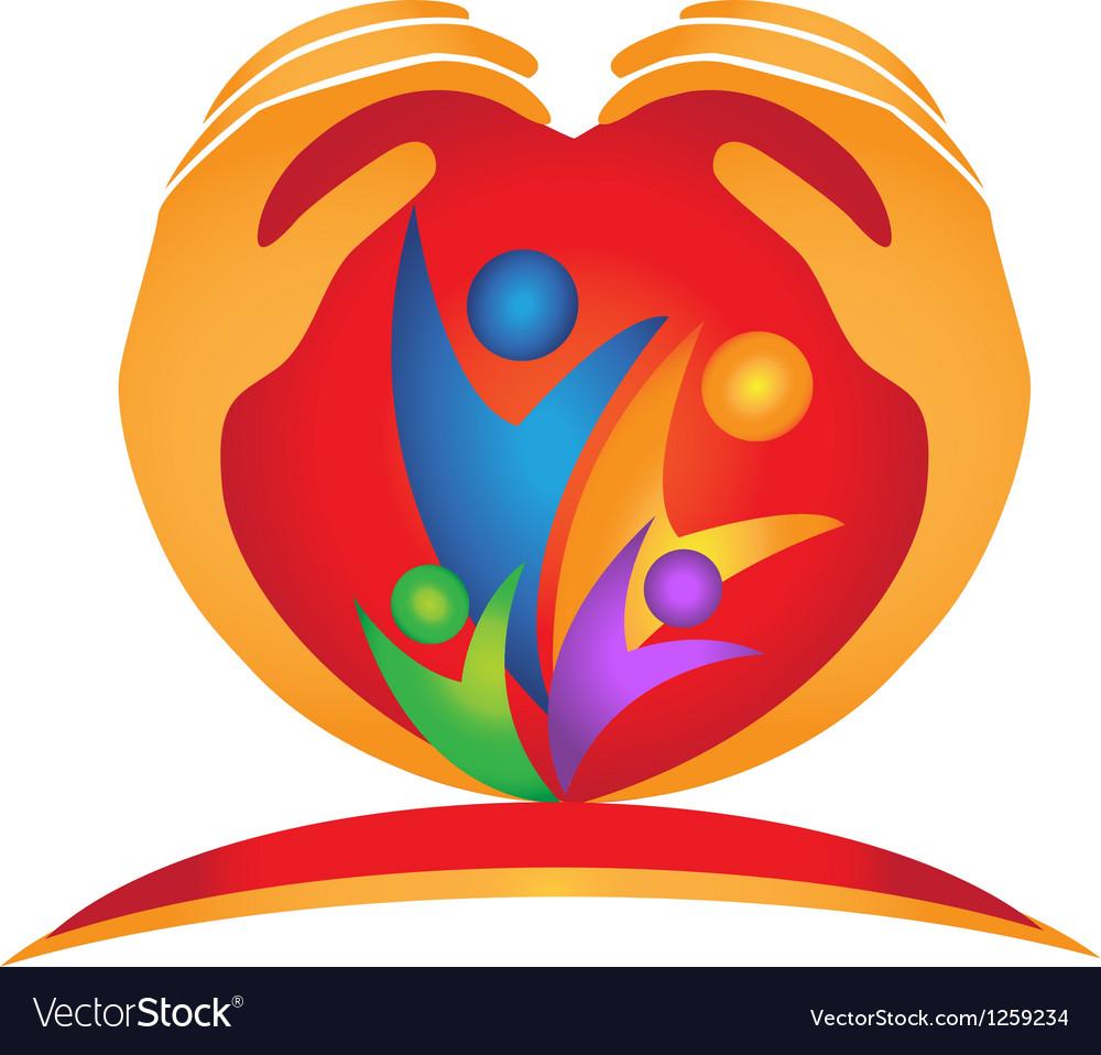 Family hands in heart shape logo vector