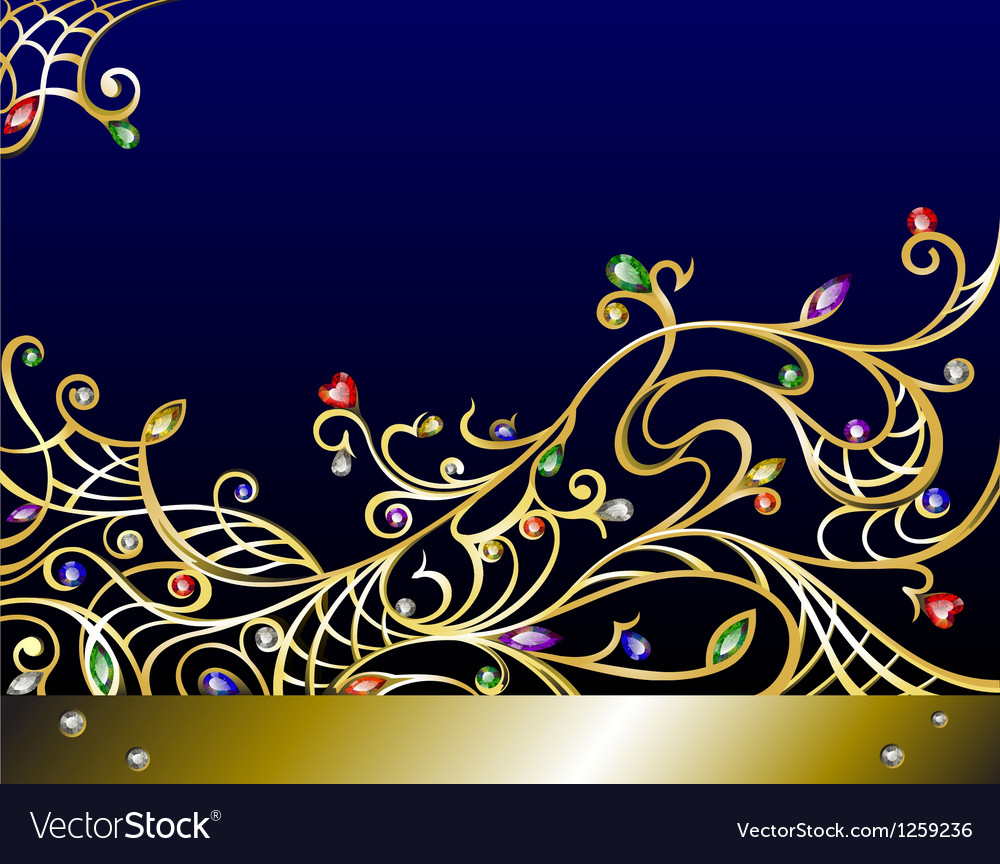 Horizontal gold jewerly background with gems vector