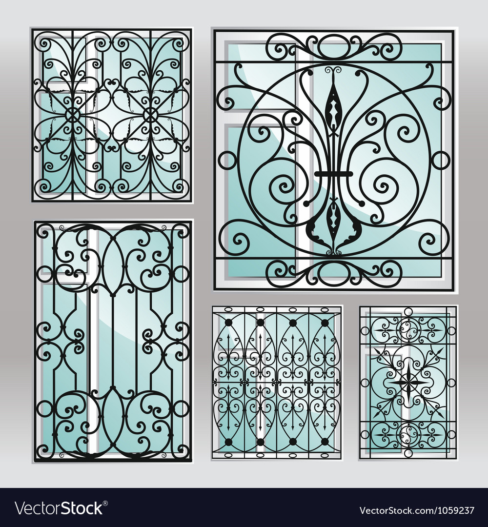 Set of iron window latticies vector
