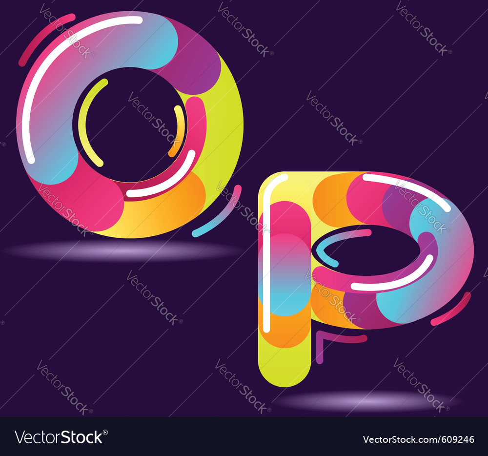 Two letters of alphabet in disco style vector