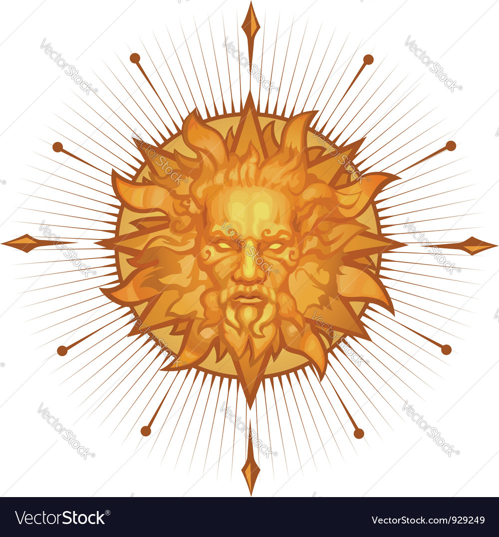 Decorative sun emblem vector
