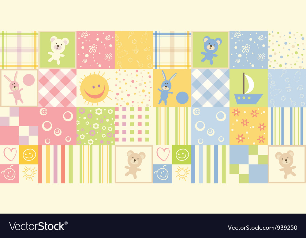 Two baby seamless vector