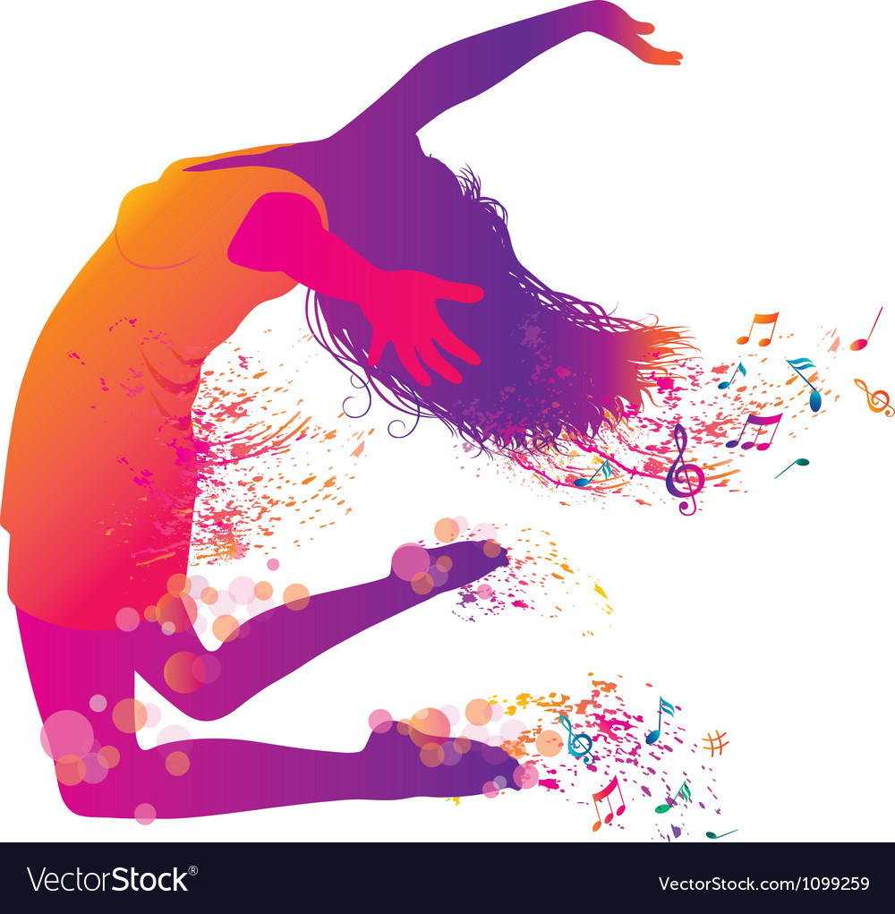 Active jumping and dancing young woman vector