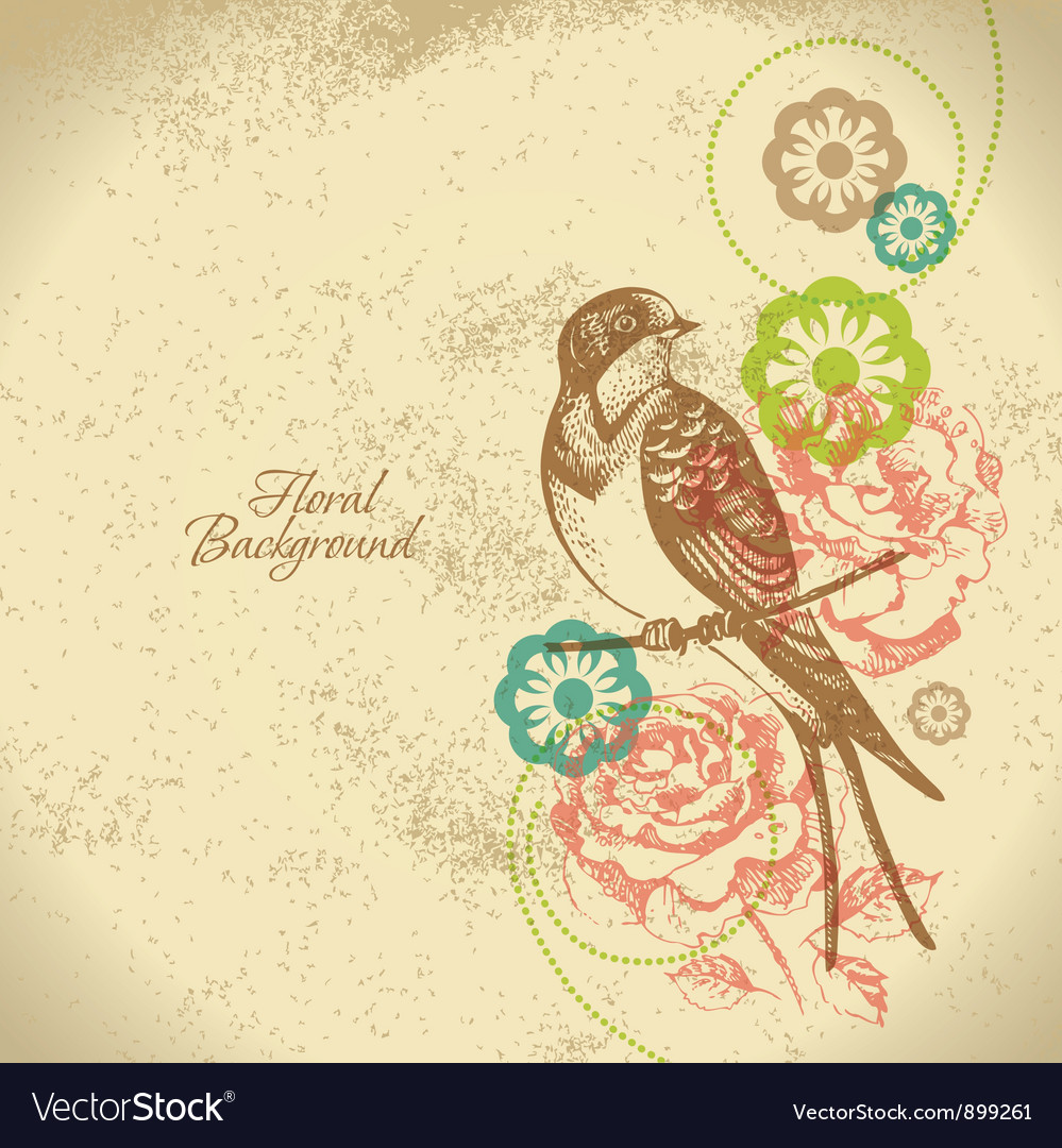 Retro floral background with bird vector