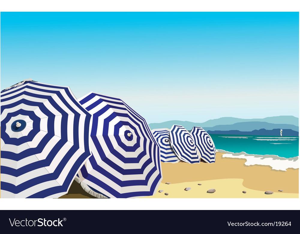 Umbrella in the beach vector