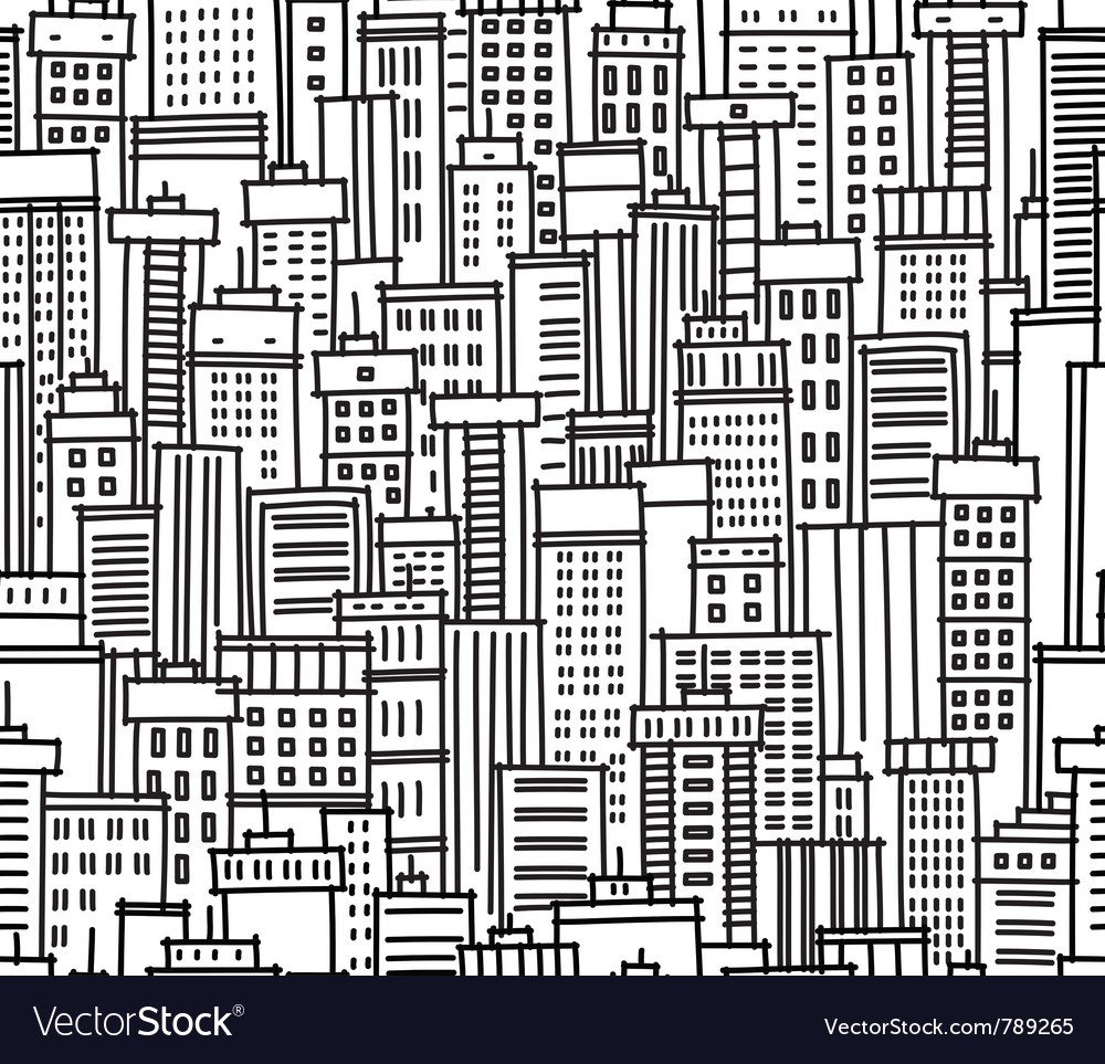 Seamless pattern of city vector