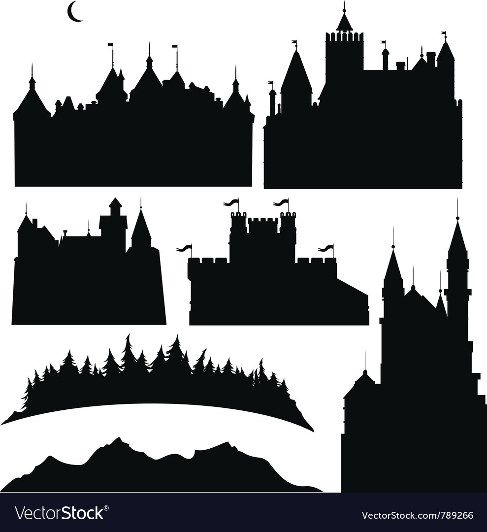 Silhouettes of castles and elements for design vector