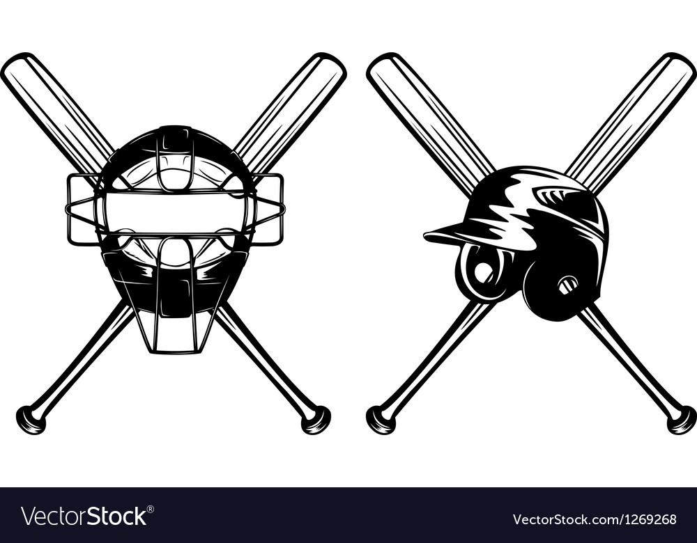 Baseball mask helmet and crossed bat vector