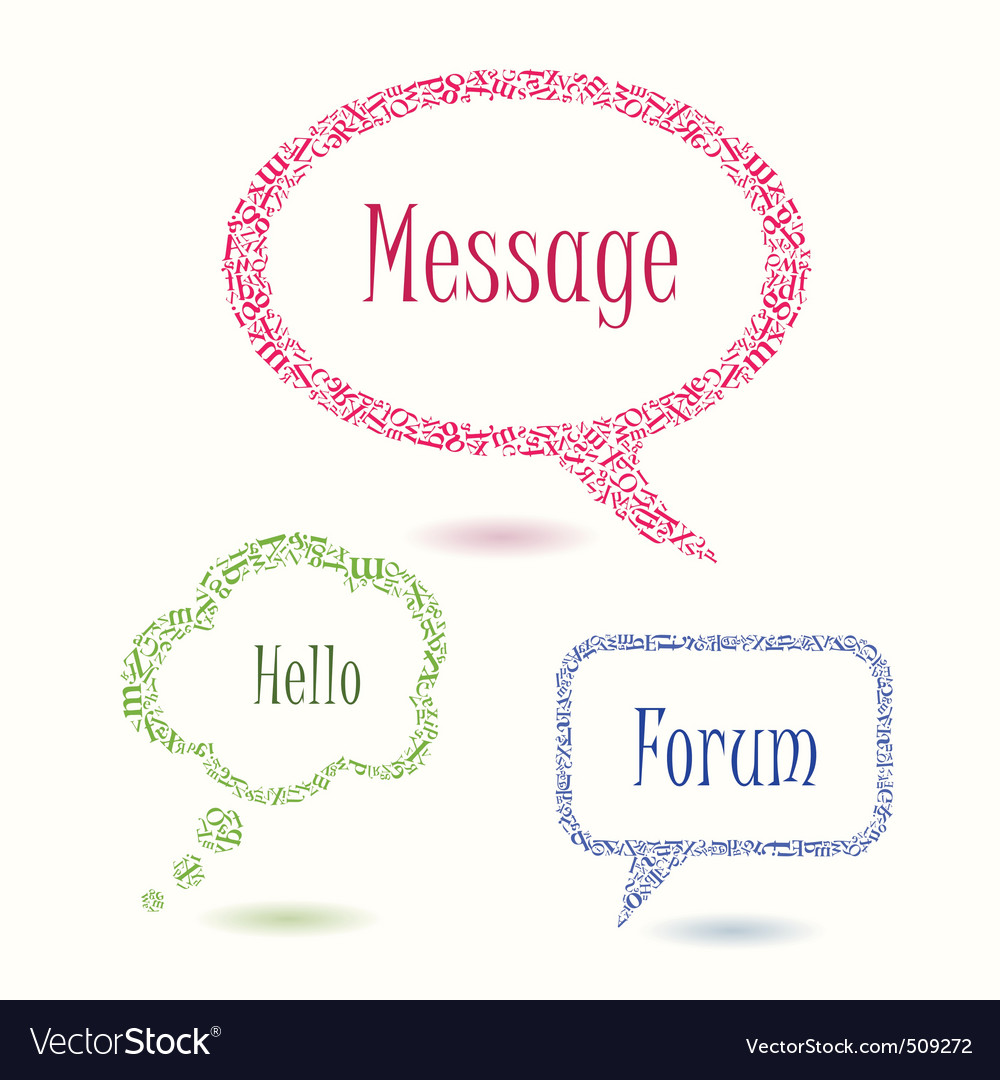 Colorful bubbles speech letters vector