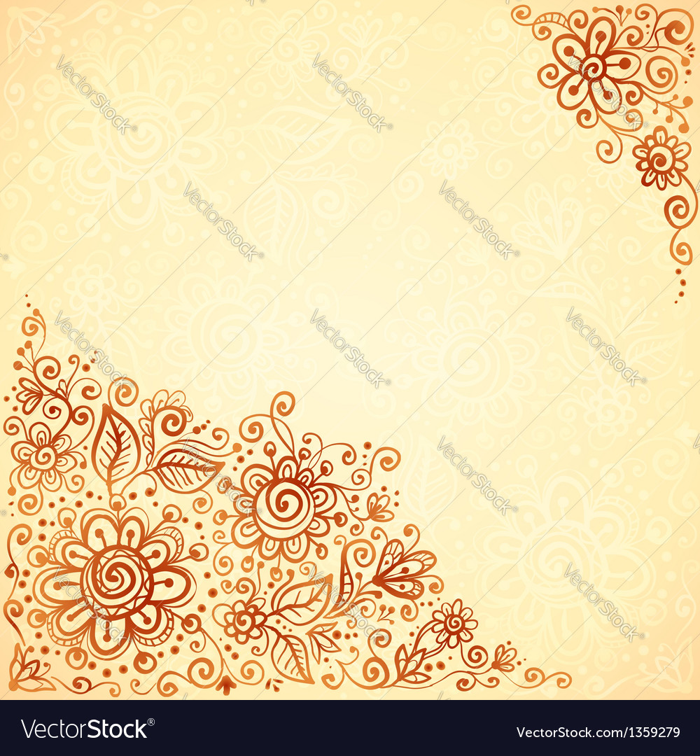 Henna colors flourish artistic background vector by art of sun image