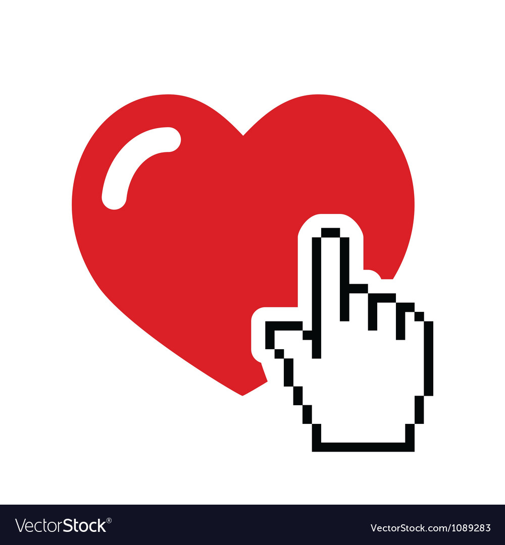 Heart with cursor hand icon - velntines love vector