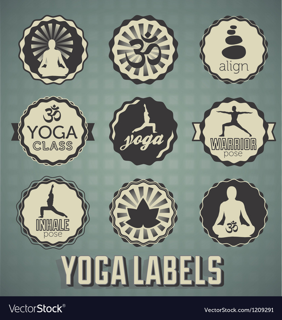 Yoga labels vector