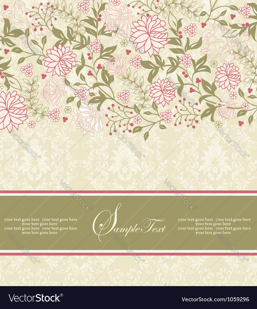 Floral invitation vector