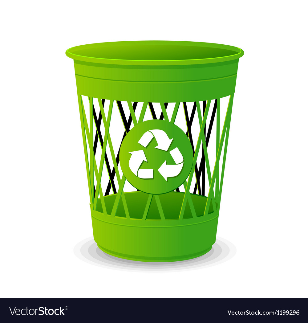 Plastic basket set trash bins on white vector
