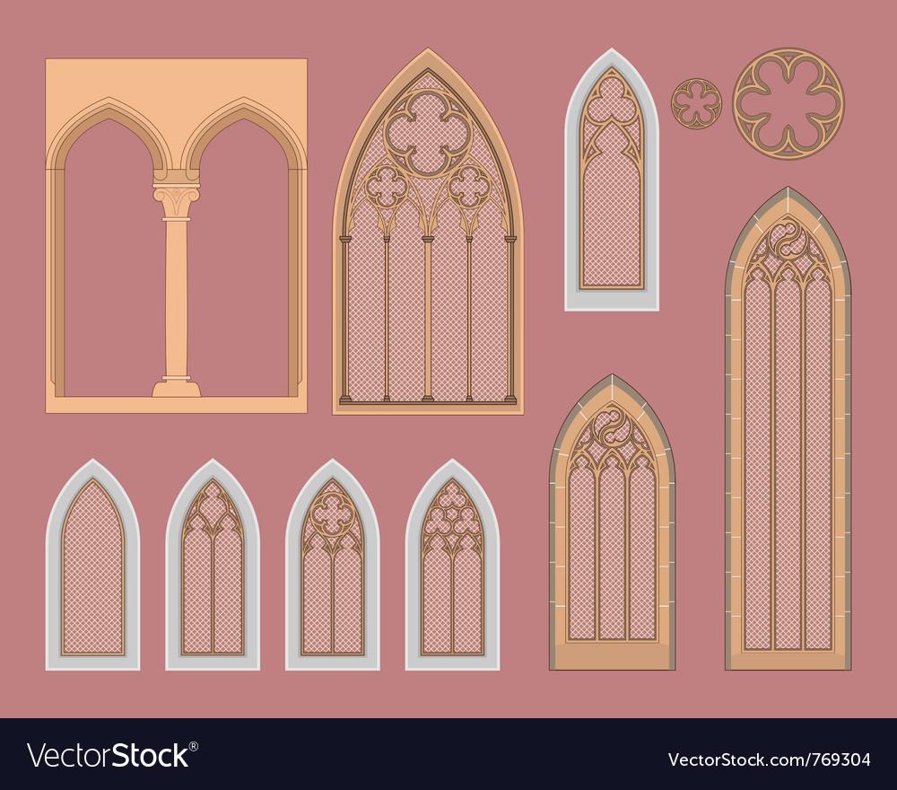 Gothic windows vector