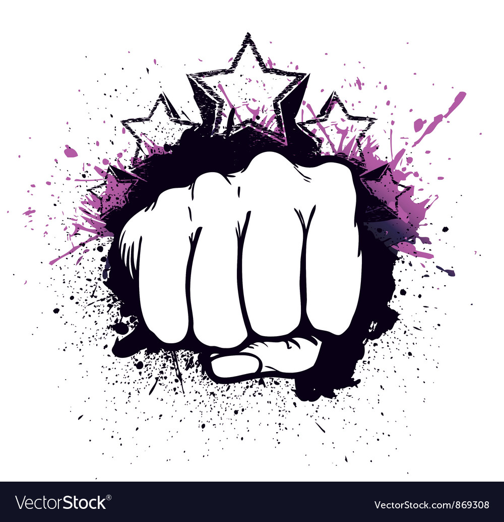 Fist with stars vector