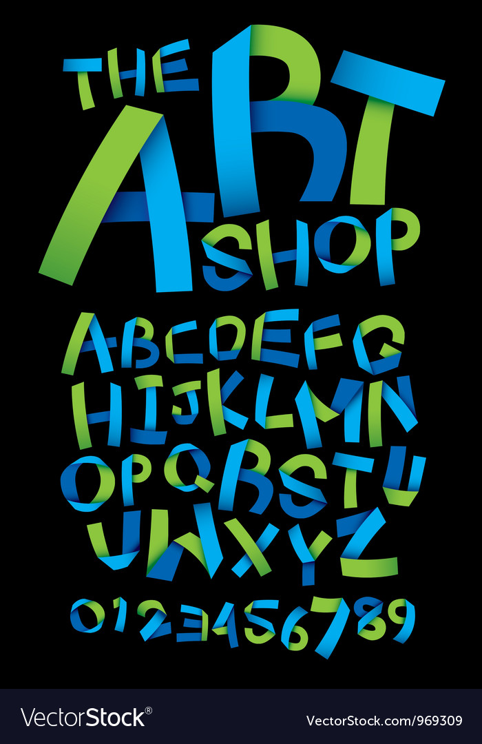 Craft ribbon font vector