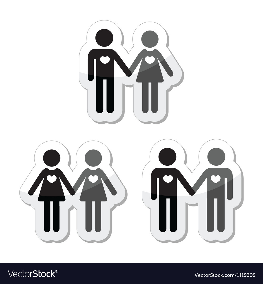 Hetero gay and lesbian love couples labels set vector