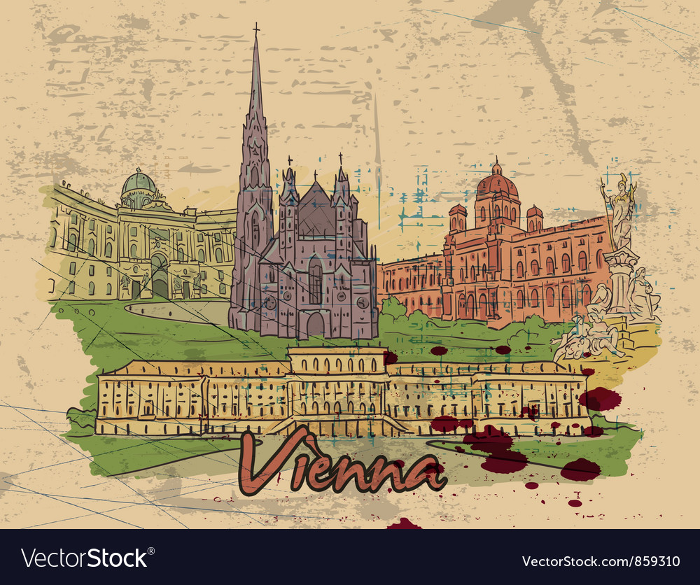 Vienna doodles vector