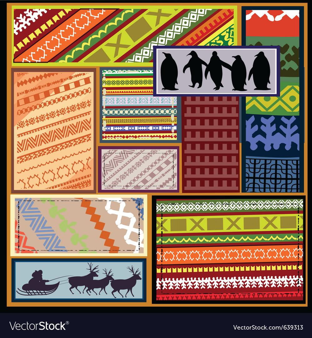 Siberian ethnic patterns vector