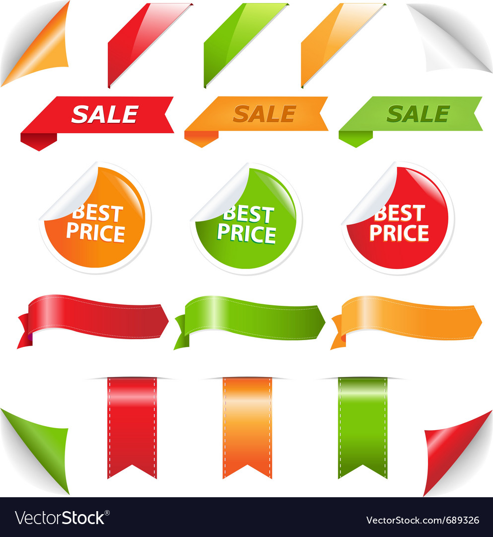 Labels and web ribbons vector