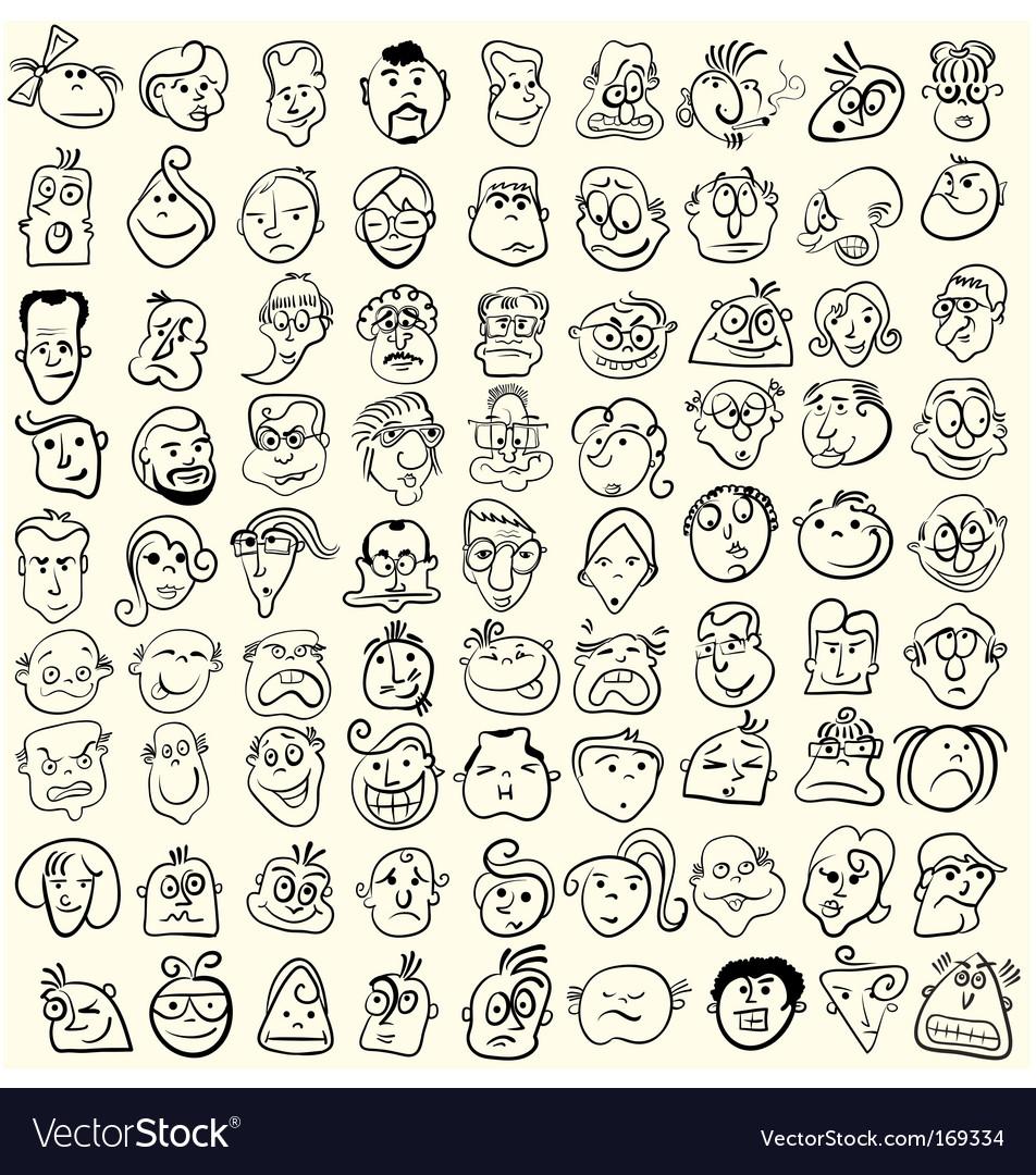 Doodle cartoon face caricature vector
