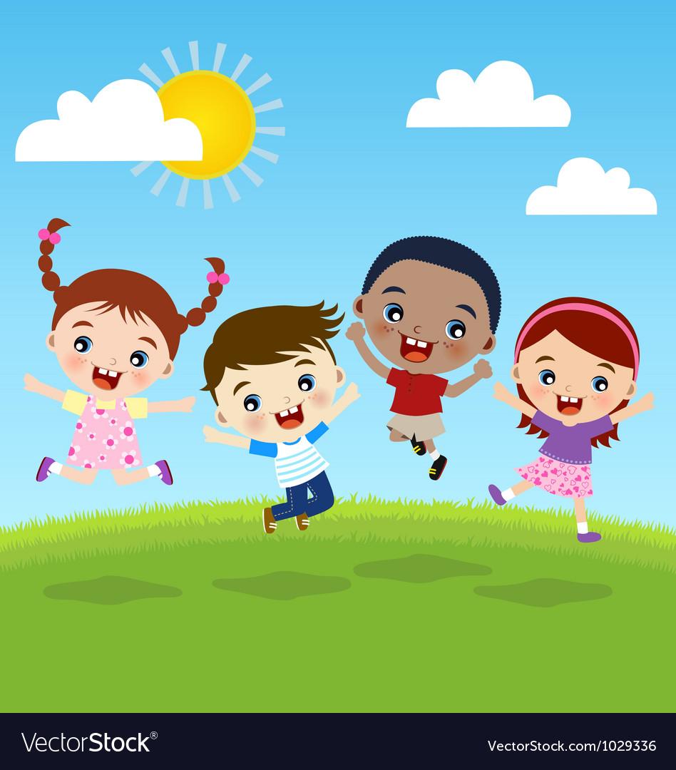 Happy jumping kids vector