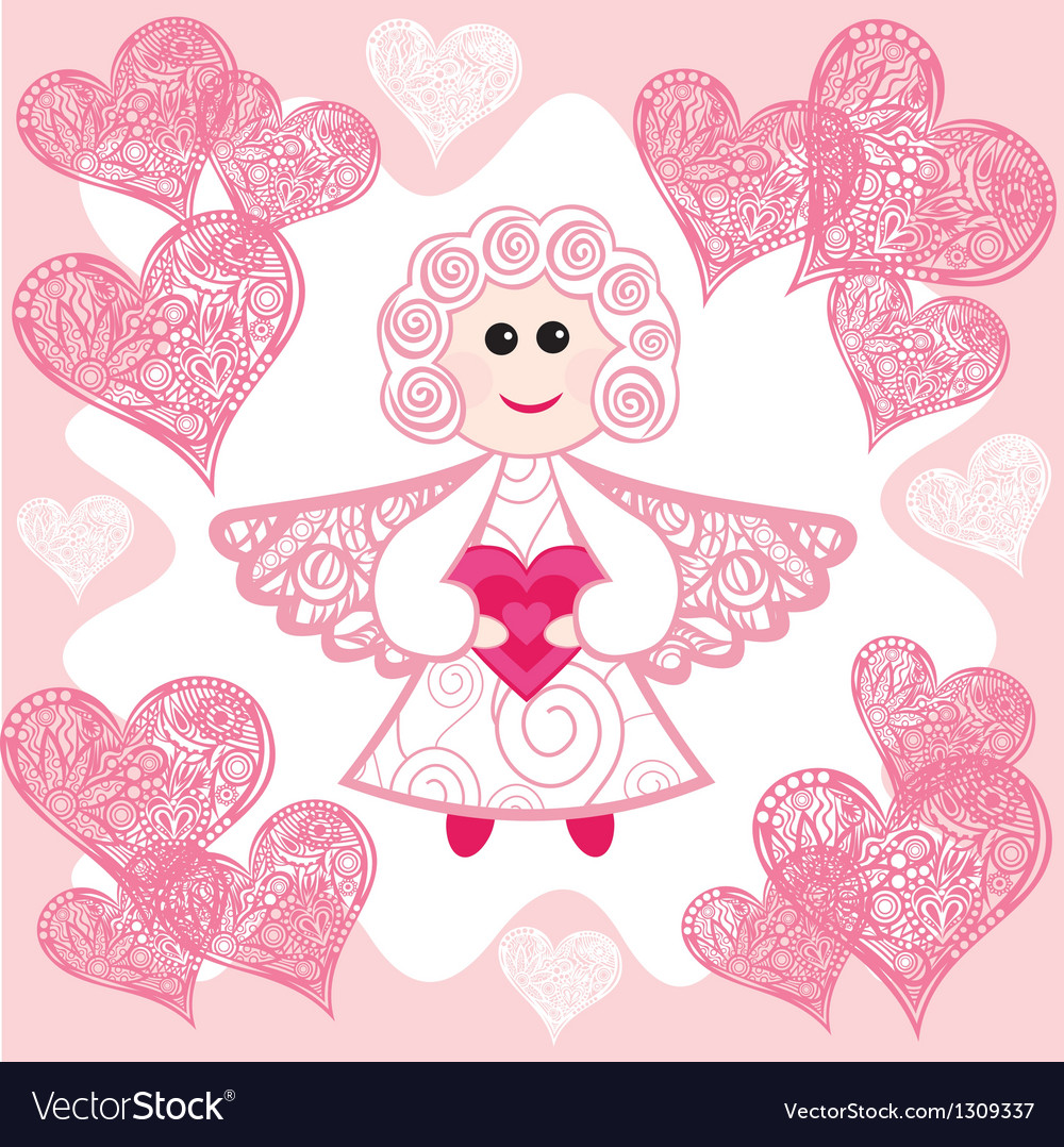 Angel hearts vector
