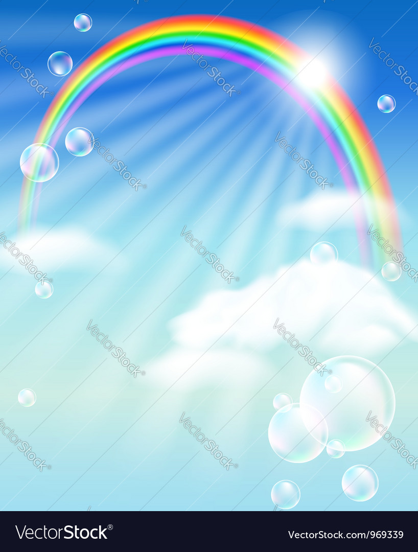 Rainbow clouds and bubbles vector