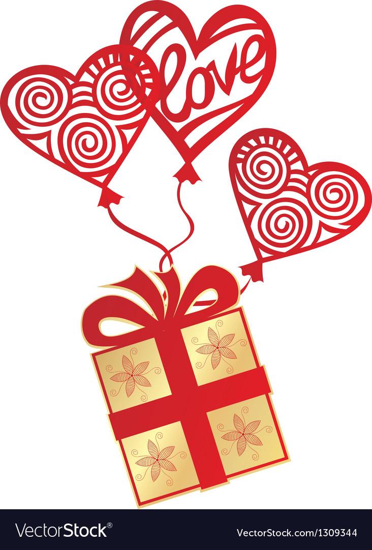 Gift love balloon vector