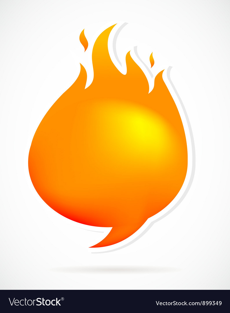 Hot speech bubbles with fire vector